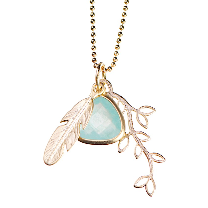 feather and leaf pendant necklace by lebenslustiger, Halkette mit Federanhänger gold
