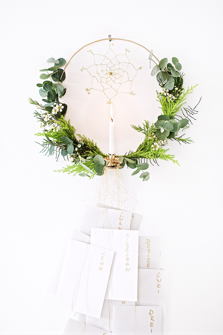 How to make a wreath with Eucalyptus and greenery, Advent Calendar DIY, download inspirational quotes, Adventskalender basteln, Kranz aus Eukalyptus binden