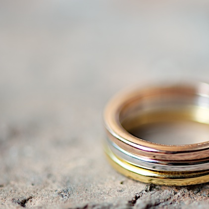 three color ring, Ringset aus Silber, Gold, Roségold