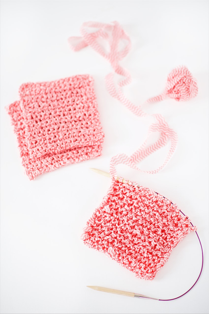Here is a super simple and quick idea to make spring cleaning more fun:  Cut some yarn out of simple store bought dish cloths (they just cost pennies - at least here in Germany) and crochet or knit your very own unique dish cloth with it.  I love my pretty crocheted Harlekin dish cloths and Chevron dish cloths still very much and we use them every day - but in wintertime the cotton takes some time to dry.  Those cloths from the store are made of some fast drying, thin fabric but I like my dish cloths smaller and more compact instead of large and thin and so I decided to cut them up...  If you like to give it a try put several of the thin cloths exactly on top of each other and start cutting on the right outside.  Cut in rounds towards the middle (you can adjust the corners a bit if you like) of the cloths to get as much lenghts as possible.  Roll into balls - you can tie the yarn strips together.  I chain about 15 for the crochet dish cloths and worked with a hook size 10mm.  The finished cloths are about 18x18cm  For the knitted version I casted on 18 stitches and used a 10mm circular knitting needle.   But you can adjust all these to your liking - maybe cut wider strips for an even chunkier knit oder make the cloths smaller...  Happy Spring Cleaning!